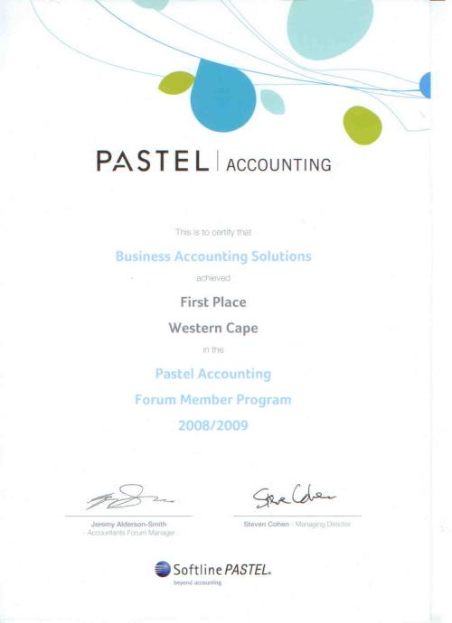 2008/9 Award for the best Pastel sales in the Western Cape