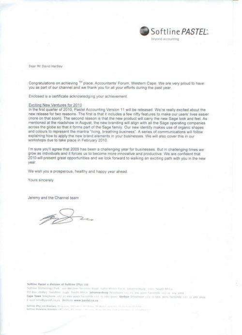 Letter from Pastel Channel Department